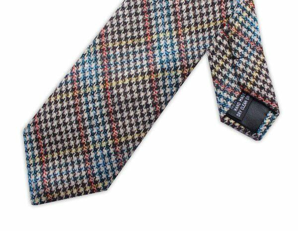 BLUE/ORANGE/YELLOW PRINCE OF WALES CHECK TIE-0