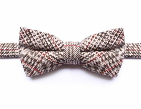 BROWN/RED PRINCE OF WALES CHECK BOW TIE-0