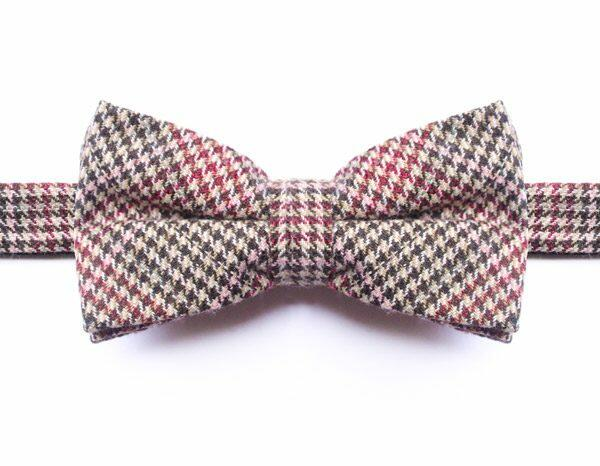 BROWN/PINK/RED PRINCE OF WALES CHECK BOW TIE-0