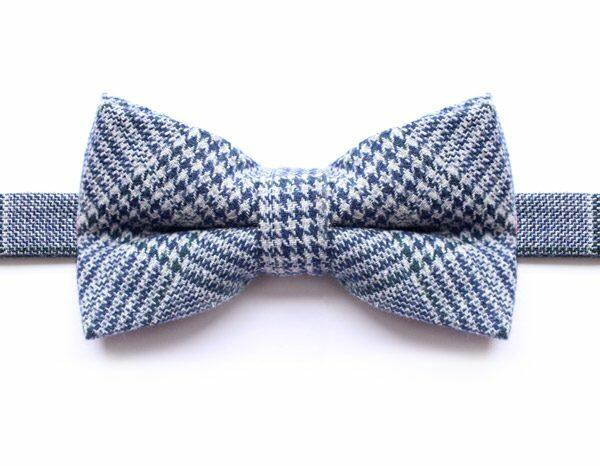 NAVY/GREEN PRINCE OF WALES CHECK BOW TIE-0