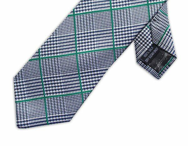 GREEN/BLACK PRINCE OF WALES CHECK XL TIE-0