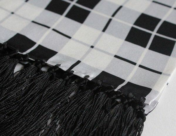 BLACK & WHITE CHECK SILK SCARF-0
