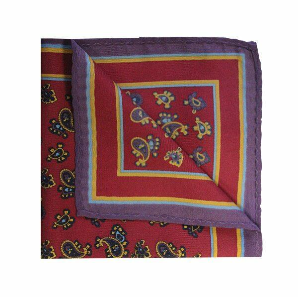 SMALL PAISLEY Maroon PRINTED SQUARE-0