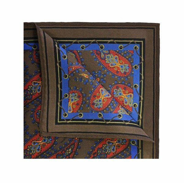 DARK brown PAISLEY PRINTED Square-0