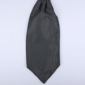 Black/white Dotted Poly Self-Tie Cravat-0