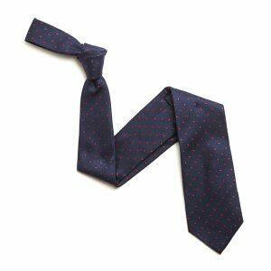 NAVY/RED SMALL DOTS SILK TIE-0