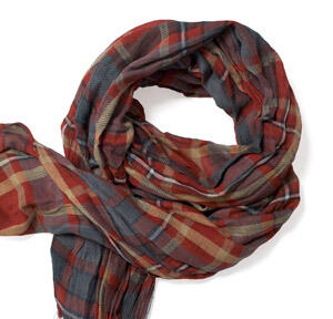 Rust red check cotton scarf-0