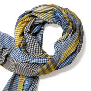 Blue/yellow gingham cotton scarf-0