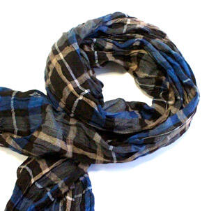Blue/brown check cotton scarf -0