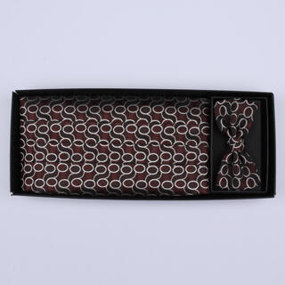 Black/brown Patterned Cummerbund / Bow Tie Set-0