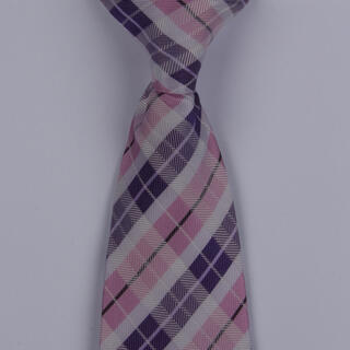 White/Pink/Purple Tartan Clip-on Tie-0