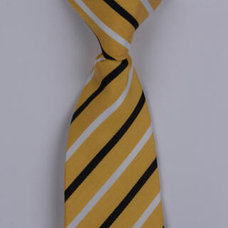 Yellow/Black/White Diagonal Striped Clip-on Tie-0