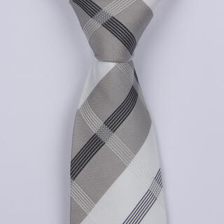 GREY/WHITE TARTAN BOYS TIE-0