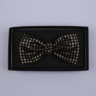 Black/Silver/Gold Squares Bow Tie-0