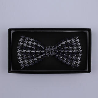 Black/Silver large houndstooth Bow Tie-0