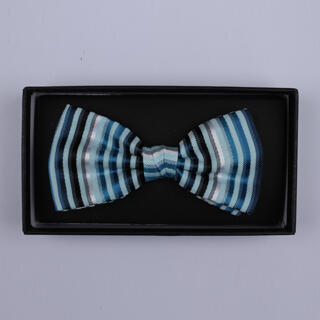 Blue/.Silver Striped Bow Tie-0