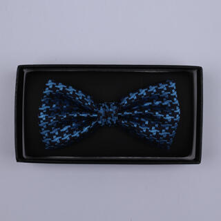 Black/Blue large houndstooth Bow Tie-0