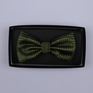 Khaki Green houndstooth Bow Tie-0