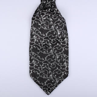 Black and Silver Poly Self-Tie Cravat-0