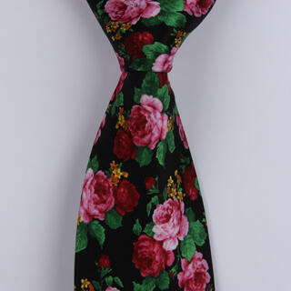 pink/red Roses Sorrento Printed Silk Tie-0