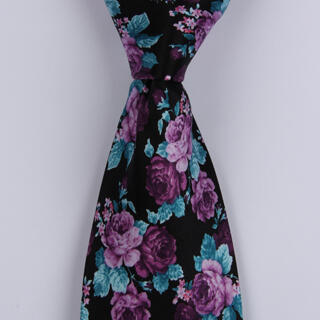 Black/Purple Roses Sorrento Printed Silk Tie-0