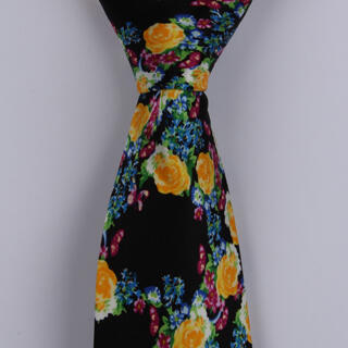Black/Multi Floral Sorrento Printed Silk Tie-0