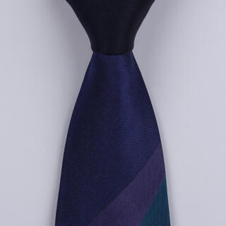 Navy/Purple/Green Striped Sorrento Printed Silk Tie-0