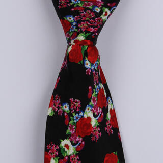 Black/Floral Sorrento Printed Silk Ties-0