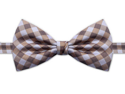 BEIGE & WHITE CHECK BOW TIE-0