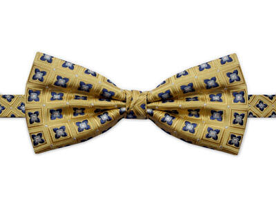 YELLOW & BLUE SQUARE DETAIL BOW TIE-0