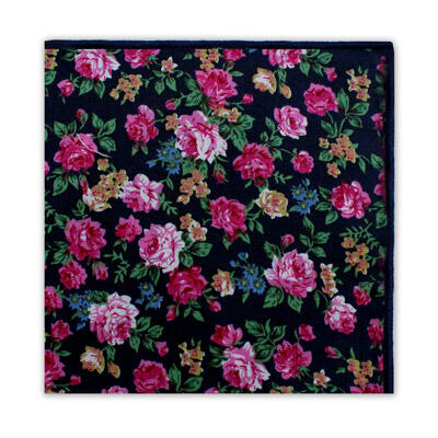 BLACK & PINK SMALL FLORAL SQUARE-0