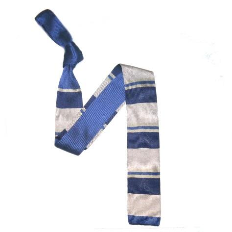 Blue/Silver Bold Stripes Silk Knitted Tie-0