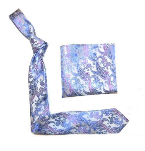 Sky blue/pink paisley silk tie and pocket square -0