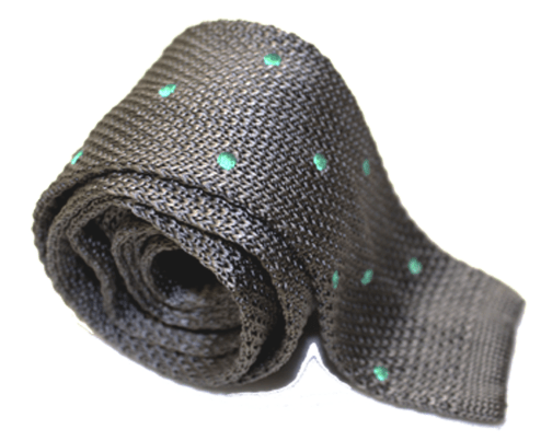 Knitted Grey Tie with Aqua Blue Polka Dot-0