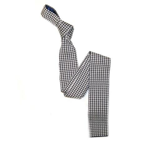 Black/White patterned Silk Knitted Tie -0