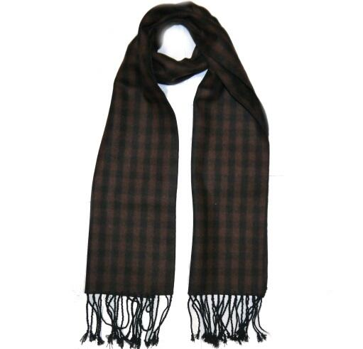 Brown/Black Tartan Wool Scarf-0