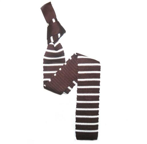 Chocolate Brown/White Slim Stripes Knitted Tie -0