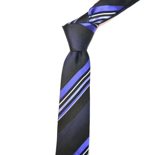 ROYAL BLUE/NAVY DIAGONAL STRIPES SKINNY TIE-0