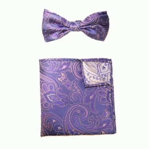 PURPLE/PINK PAISLEY BOW TIE AND POCKET SQUARE -0
