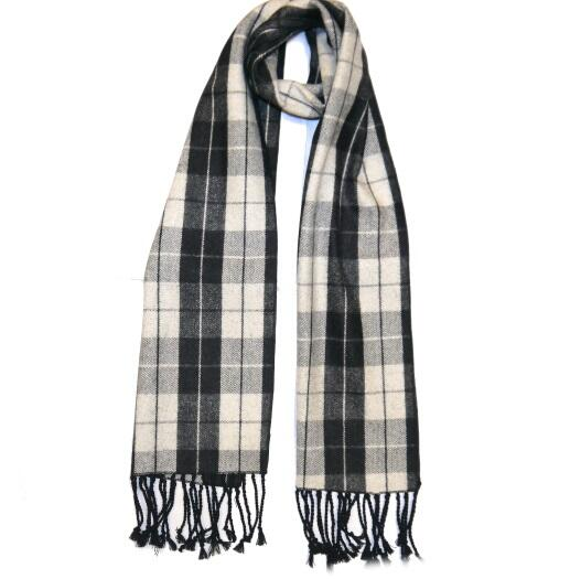 White/Grey Tartan Wool Scarf-0