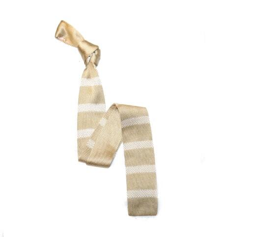 Champagne/White Stripes Silk Knitted Tie -0