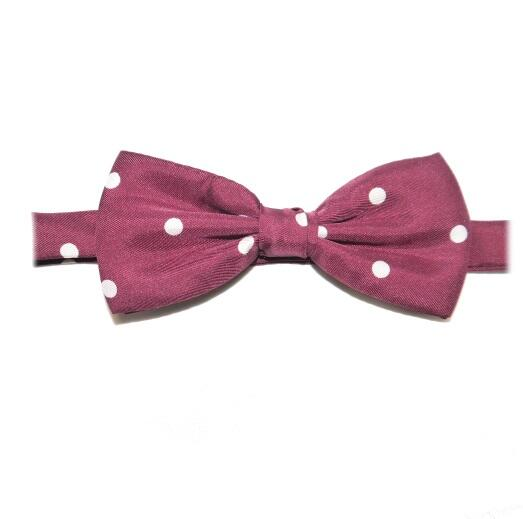 BURGUNDY/WHITE POLKA DOTS PRINTED SILK BOW TIE-0