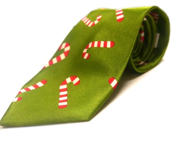 Green red and white candy cane christmas tie -0