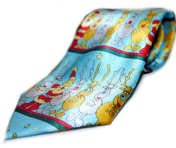 Merry Santa and reindeer novelty tie