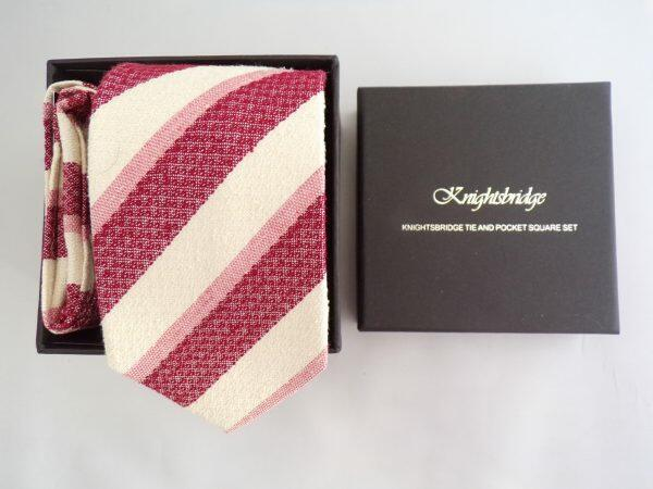 CREAM AND BURGUNDY STRIPED TIE AND POCKET SQUARE