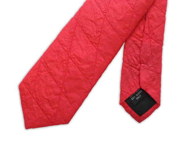Red Skinny Quilted Tie-0