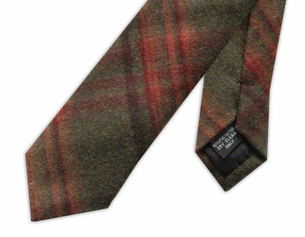 Brown/Red Tartan Wool Tie-0