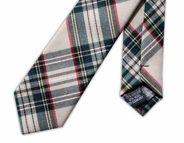 MADRAS OVERCHECK IN BEIGE/GREEN TWEED TIE-0