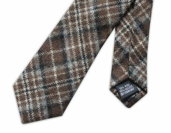 DARK BROWN/BEIGE OVERCHECK TWEED TIE-0