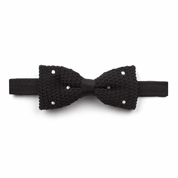 Black/white Polka Dot Knitted Silk Bow Tie-0